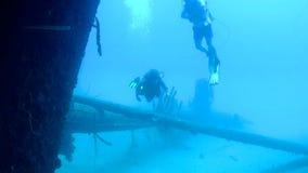 Mensen het duiken Caraïbische overzeese onderwatervideo stock footage