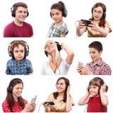 Mensen het luisteren Stock Foto