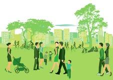 Mensen in het park in de zomer Royalty-vrije Stock Afbeelding