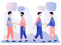 Mensen het spreken De mensen bespreken sociaal netwerk, nieuws, sociale netwerken, praatje, de bellen van de dialoogtoespraak Vla stock illustratie