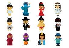 Mensen in hun kleren van rondom de wereld royalty-vrije illustratie