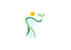 Mensen, installatie, kuuroord, embleem, natuurlijke gezondheidswellness, het pictogram van het ecologiesymbool vector illustratie