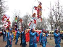 Mensen, januari, kunst, dansprestaties op de stok Stock Foto