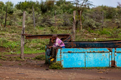 Mensen in Kenia, de zwarte mensen, het leven van mensen in Afrika Royalty-vrije Stock Fotografie