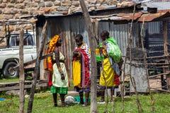Mensen in Kenia, de zwarte mensen, het leven van mensen in Afrika Stock Afbeelding