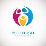 Mensen Logo Design Het creatieve abstracte embleem van mensenvormen Stock Foto's