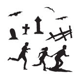 Mensen lopende en andere Halloween-elementen Stock Foto