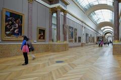 Mensen in Louvre, Parijs, Frankrijk Stock Afbeeldingen