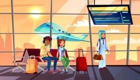 Mensen in luchthaven vectorillustratie stock illustratie