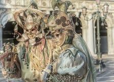 Mensen in maskers en kostuums op Venetiaans Carnaval Royalty-vrije Stock Afbeelding