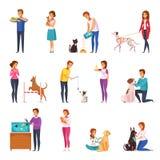 Mensen met de reeks van het huisdierenbeeldverhaal Stock Afbeeldingen