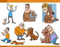 Mensen met de reeks van het huisdierenbeeldverhaal Royalty-vrije Stock Fotografie