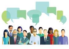 Mensen met dialoogbellen Stock Foto's