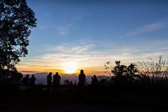 Mensen met gesilhouetteerde bomen Stock Afbeelding