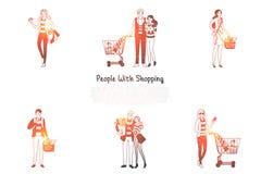 Mensen met het winkelen - families en mensen met het winkelen zakken en manden met reeks van het aankopen de vectorconcept vector illustratie