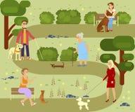 Mensen met honden royalty-vrije illustratie