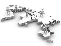 Mensen met kaart van wereld Stock Afbeelding