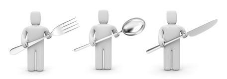Mensen met keukenwerktuig Stock Afbeeldingen