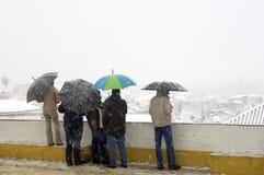 Mensen met paraplu's in sneeuw Stock Afbeelding