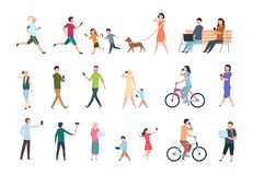 Mensen met smartphones Vele vrouwen en mannen met telefoons Personen met gadget die selfie nemen Vector characters vector illustratie
