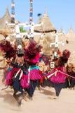 De rituele dans van Dogon met maskers, Mali, Afrika stock foto