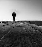 Mensen op de houten brug Stock Foto's
