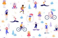 Mensen op de witte achtergrond van het park naadloze patroon Kinderen die activiteiten en sporten openlucht vlakke ontwerpvector  Stock Fotografie