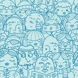 Mensen op een achtergrond van het menigte naadloze patroon Royalty-vrije Stock Afbeeldingen