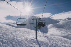 Mensen op een skilift Royalty-vrije Stock Foto