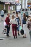 Mensen op een stadsholida Royalty-vrije Stock Foto's
