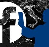 Mensen op facebook, nieuw embleem facebook stock illustratie
