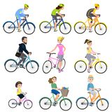 Mensen op fietsen royalty-vrije illustratie