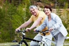 Mensen op fietsen stock foto's