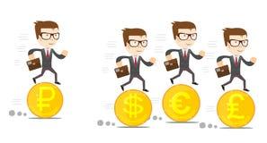 Mensen op gouden coines met verschillende munt stock illustratie