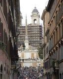 Mensen op Piazza Di Spagna's treden, Rome, Italië Royalty-vrije Stock Foto's