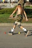 Mensen op rolschaatsen Stock Foto