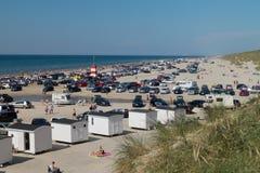 Mensen op strand Stock Foto