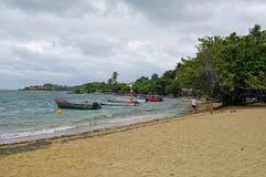 Mensen op strand in Presqu ` Ile DE La Caravelle op 1,2017 Januari, Martinique, Royalty-vrije Stock Foto
