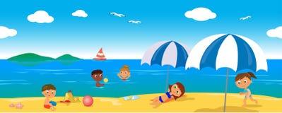Mensen op vakantie bij het overzees, naadloze lijnvector Stock Foto's