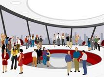 Mensen op wit bureau Stock Afbeelding
