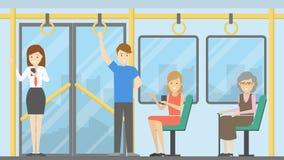 Mensen in openbaar vervoer vector illustratie