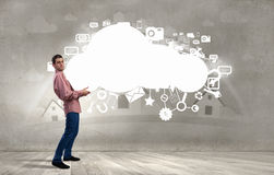 Mensen opheffende wolk Royalty-vrije Stock Afbeeldingen