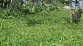 Mensen in orde makend gras in de tuin die grasmaaier met behulp van stock video