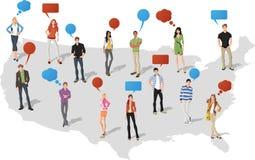 Mensen over de kaart van de Verenigde Staten van Amerika Stock Foto