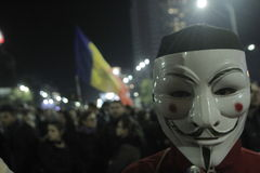 65000 mensen protesteren in Boekarest vragen om politieke klassenverandering Royalty-vrije Stock Foto