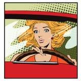 Mensen in retro stijl Bang gemaakte vrouw die een auto drijven vector illustratie