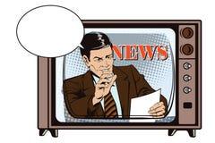 Mensen in retro stijl Een mens leest de documenten Nieuws, en fac vector illustratie