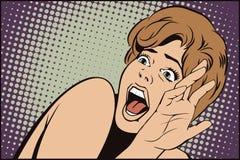 Mensen in retro stijl Meisje die in verschrikking gillen stock illustratie