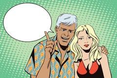 Mensen in retro stijlpop-art en uitstekende reclame De mens met een meisje wil aandacht aantrekken vector illustratie