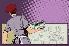 Mensen in retro stijlpop-art en uitstekende reclame De serveerster met bier royalty-vrije illustratie